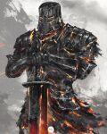 1boy armor breastplate commentary cowboy_shot dark_souls_i english_commentary full_body gauntlets hands_on_hilt helmet highres iron_knight_tarkus male_focus pauldrons planted planted_sword shimhaq shoulder_armor solo souls_(series) standing sword weapon