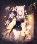 :o absurdres an64239626 animal_ear_fluff animal_ears arknights bangs bare_legs black_choker black_dress blonde_hair blue_eyes breasts cat_ears choker dress eyebrows flower hair_ornament hairclip heterochromia highres holding holding_polearm holding_spear holding_weapon huge_filesize kneehighs long_hair long_sleeves looking_at_viewer medium_breasts multicolored multicolored_background nightmare_(arknights) off_shoulder open_mouth parted_lips polearm red_eyes short_dress sidelocks socks spear standing sweater_vest weapon white_flower white_legwear yellow_flower yellow_sweater_vest