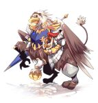 1boy animal animalization board_game chess closed_mouth commentary_request emon-yu full_body griffin gryphon_(ragnarok_online) helmet holding holding_helmet holding_lance holding_polearm holding_weapon lance looking_at_viewer polearm ragnarok_online royal_guard_(ragnarok_online) simple_background solo weapon white_background