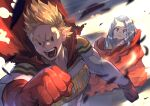 1boy 1girl absurdres blonde_hair boku_no_hero_academia cape eri_(boku_no_hero_academia) gloves highres horns long_hair muscular muscular_male open_mouth parted_lips red_cape red_eyes red_gloves short_hair silver_hair single_horn superhero togata_mirio uedrk_yamato