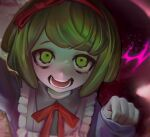 1girl :d bangs blurry close-up commentary danganronpa_(series) danganronpa_another_episode:_ultra_despair_girls depth_of_field dress face frills green_eyes green_hair hairband hand_up hands long_sleeves looking_at_viewer neck_ribbon no_nose open_mouth pink_dress red_hairband red_ribbon ribbon short_hair smile solo teeth towa_monaka upper_body v1v404