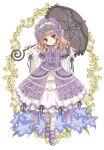 1girl bangs blue_eyes blunt_bangs bonnet bow brown_hair child dress fingernails floral_print flower footwear_bow frilled_dress frills gathers highres holding holding_umbrella karen_(koisuru_ojou-sama_wa_papa_to_yobitakunai) kinoshita_sakura koisuru_ojou-sama_wa_papa_to_yobitakunai lolita_fashion parasol puffy_sleeves purple_bow purple_dress purple_flower purple_footwear ribbon smile solo sweet_lolita umbrella wavy_hair