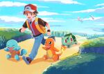 1boy :d backpack bag baseball_cap blue_pants blush brown_eyes brown_hair bulbasaur charmander clenched_hands clouds commentary_request day gen_1_pokemon grass hat highres jacket male_focus mew mo~zu mythical_pokemon open_mouth outdoors pants pokemon pokemon_(creature) pokemon_(game) pokemon_frlg popped_collar red_(pokemon) red_headwear running shoes short_hair short_sleeves sky smile squirtle starter_pokemon_trio tongue vs_seeker wristband yellow_bag