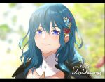 1girl anniversary armor asao_(vc) bangs black_armor blue_eyes blue_flower blue_hair blush byleth_(fire_emblem) byleth_(fire_emblem)_(female) closed_mouth commentary_request detached_collar english_text engrish_text eyebrows_visible_through_hair fire_emblem fire_emblem:_three_houses flower hair_between_eyes hair_flower hair_ornament lips long_hair looking_at_viewer outdoors petals ranguage red_flower red_rose rose shoulder_armor smile solo upper_body yellow_flower