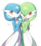 2girls alternate_color bangs blue_hair blue_skin blush blush_stickers bob_cut character_name cheek-to-cheek closed_mouth collar colored_skin commentary eyebrows_visible_through_hair eyes_visible_through_hair flat_chest gardevoir gen_3_pokemon green_hair green_skin hair_over_one_eye hand_up happy heart heart_in_eye holding_hands interlocked_fingers looking_at_viewer lotosu mega_stone multicolored multicolored_skin multiple_girls one_eye_closed open_mouth orange_eyes pokemon pokemon_(creature) red_eyes shiny shiny_hair shiny_pokemon short_hair simple_background smile standing star_(symbol) star_in_eye symbol_in_eye symmetry two-tone_skin white_background white_skin yuri
