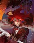 1boy black_gloves blood bloody_clothes bow_(weapon) cape failnaught_(fate) fate/grand_order fate_(series) fire gloves holding holding_bow_(weapon) holding_weapon long_hair male_focus mouth_hold redhead royst string tristan_(fate) weapon yellow_eyes