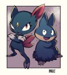 :d black_eyes border chichibu_(chichichibu) commentary_request crossed_arms eyelashes fangs gen_2_pokemon gen_4_pokemon legs_apart looking_up munchlax no_humans open_mouth outside_border pokemon pokemon_(creature) red_eyes smile sneasel solo standing tongue white_border