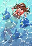 1girl :d afloat anklet barefoot bikini black-framed_eyewear blue_bikini blush brown_eyes brown_hair chichibu_(chichichibu) commentary_request day from_above gen_3_pokemon hands_up highres jewelry navel nervous_smile npc_trainer open_mouth outdoors pokemon pokemon_(creature) pokemon_(game) pokemon_oras sharpedo smile sunglasses swimmer_(pokemon) swimsuit toes tongue water