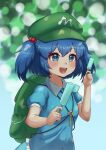 1girl :d absurdres backpack bag bangs blue_eyes blue_hair blue_shirt blue_skirt blurry blurry_background blush bokeh breasts bright_pupils commentary_request depth_of_field dual_wielding eyebrows_visible_through_hair food frills green_bag green_headwear hair_bobbles hair_ornament hat highres holding holding_food huge_filesize kawashiro_nitori key medium_breasts open_mouth popsicle puffy_short_sleeves puffy_sleeves shirt short_hair short_sleeves signature simple_background skirt smile solo touhou tsugumi_amon two_side_up upper_body upturned_eyes wing_collar