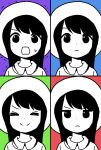 >_< 1girl :d annoyed bangs blue_background closed_eyes closed_mouth collared_shirt commentary_request dot_nose expressionless expressions facing_viewer frown green_background happy hat highres katsuwo_(cr66g) kotoha_(mitsuboshi_colors) long_hair looking_at_viewer mitsuboshi_colors motion_lines multicolored multicolored_background multiple_views open_mouth partially_colored portrait purple_background red_background shirt smile split_mouth sweatdrop trembling