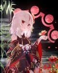 1girl bangs black_kimono breasts commentary_request detached_sleeves eyebrows_visible_through_hair floral_print flower guo582 hair_flower hair_ornament hand_up highres japanese_clothes kimono kouhaku_nawa long_sleeves looking_at_viewer multicolored_hair obi open_mouth original plant print_kimono red_eyes red_flower redhead sash solo spider_lily streaked_hair upper_body water white_hair wide_sleeves