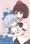 2girls bangs black_bow black_hair black_neckwear black_skirt blue_bow blue_dress blue_hair bow cirno closed_eyes closed_mouth cowboy_shot dress hair_bow hat heart holding_another hug linda_18 multiple_girls necktie open_mouth pinafore_dress pink_background pom_pom_(clothes) puffy_short_sleeves puffy_sleeves red_eyes red_headwear shameimaru_aya shirt short_hair short_sleeves skirt smile spoken_heart standing tokin_hat touhou white_shirt