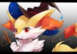 animal_ear_fluff braixen brown_headwear closed_mouth commentary_request fang fang_out furry gen_6_pokemon goma_(nabepa_nabepa) hands_up hat hatted_pokemon highres holding holding_stick looking_to_the_side orange_eyes pokemon pokemon_(creature) smile solo stick upper_body white_fur witch_hat