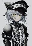 1girl absurdres black_headwear checkered checkered_clothing checkered_headwear green_eyes grey_background grey_hair grey_theme hat highres original parted_lips puffy_sleeves short_hair simple_background smile solo turtleneck upper_body yamori_no_o yellow_eyes