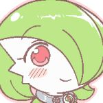 1girl bangs blush blush_stickers bob_cut closed_mouth collar colored_skin commentary eyebrows_visible_through_hair face gardevoir gen_3_pokemon green_hair green_skin gyate_gyate hair_over_one_eye happy icon lotosu lowres mega_stone meme multicolored multicolored_skin outline pink_outline pokemon pokemon_(creature) red_eyes shiny shiny_hair short_hair simple_background smile solo two-tone_skin white_background white_skin
