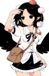 1girl arm_up bag bangs bird_wings black_eyes black_hair black_neckwear black_ribbon black_skirt black_wings brown_bag closed_mouth collared_shirt cowboy_shot eyebrows_visible_through_hair hat holding holding_clothes holding_skirt looking_to_the_side maguro_(mawaru_sushi) neck_ribbon parted_bangs pointy_ears pom_pom_(clothes) puffy_short_sleeves puffy_sleeves red_headwear ribbon see-through_shirt shameimaru_aya shirt short_hair short_sleeves shoulder_bag simple_background skirt solo standing tokin_hat touhou white_background wings
