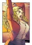 apoloniodraws black_lips blonde_hair buttons formal highres office_lady pixiv stretch suit sunset tired