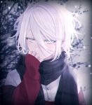 1boy bangs black_scarf blurry blurry_background blush buttons clothes_grab commentary eyebrows_visible_through_hair hair_between_eyes hand_up highres long_sleeves looking_down male_focus medium_hair messy_hair muon original red_sweater scarf shirt sidelocks signature sleeves_past_wrists solo steam sweater tree white_hair white_shirt