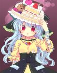 1girl adapted_costume biyon blue_hair blueberry cake dress flower food food_on_head fork fruit green_headwear hand_up haniwa_(statue) haniyasushin_keiki head_scarf icing long_hair looking_at_viewer magatama magatama_necklace object_on_head open_mouth pun red_eyes short_sleeves smile solo strawberry touhou twitter_username upper_body yellow_dress