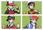 4boys backwards_hat bangs baseball_cap beanie black_hair black_shirt black_wristband border bracelet brendan_(pokemon) brown_hair clenched_hand clenched_hands closed_mouth coat commentary english_commentary ethan_(pokemon) grey_eyes hand_on_headwear hand_up hands_up hat hyo_oppa jacket jewelry lucas_(pokemon) male_focus multiple_boys pixel_art pokemon pokemon_(game) pokemon_dppt pokemon_hgss pokemon_masters_ex pokemon_oras pokemon_platinum red_(pokemon) red_coat red_headwear red_jacket scarf shirt short_hair sleeveless_coat white_border white_headwear white_scarf wristband