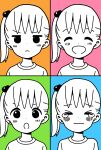 1girl :d :o akamatsu_yui annoyed bangs blue_background blush closed_eyes closed_mouth commentary_request dot_nose expressions eyebrows_visible_through_hair facing_viewer green_background hair_bobbles hair_ornament happy highres katsuwo_(cr66g) looking_at_viewer mitsuboshi_colors multicolored multicolored_background multiple_views one_side_up open_mouth orange_background partially_colored pink_background portrait sad shirt short_hair smile split_mouth tears wavy_mouth