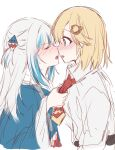 2girls blonde_hair blue_hair blush closed_eyes desutruction english_commentary gawr_gura hair_ornament highres hololive hololive_english imminent_kiss medium_hair monocle_hair_ornament multicolored_hair multiple_girls necktie necktie_grab neckwear_grab open_mouth parted_lips shark_hair_ornament sharp_teeth short_hair silver_hair simple_background streaked_hair teeth upper_teeth virtual_youtuber watson_amelia white_background yuri