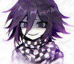 1boy bangs blurry blurry_foreground checkered checkered_neckwear checkered_scarf danganronpa_(series) danganronpa_v3:_killing_harmony depth_of_field english_commentary grey_background hair_between_eyes looking_at_viewer male_focus multicolored_hair open_mouth ouma_kokichi pale_skin portrait purple_hair scarf short_hair simple_background smile solo two-tone_hair v1v404