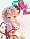 1girl absurdres ascot balloon bangs blonde_hair blurry blush bow breasts chromatic_aberration closed_mouth commentary_request crystal depth_of_field eyebrows_visible_through_hair flandre_scarlet gradient gradient_background hat hat_bow heart_balloon highres holding holding_balloon huge_filesize ke-a-ru looking_at_viewer mob_cap one_side_up orange_neckwear puffy_short_sleeves puffy_sleeves red_bow red_eyes red_vest short_hair short_sleeves simple_background small_breasts smile solo touhou upper_body vest white_background white_headwear wings