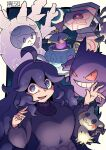 1girl :d @_@ ahoge bangs border breasts chichibu_(chichichibu) commentary_request cursola dress gen_1_pokemon gen_7_pokemon gen_8_pokemon gengar hair_between_eyes hairband hands_up hex_maniac_(pokemon) highres long_hair looking_at_viewer messy_hair mimikyu npc_trainer open_mouth outside_border pokemon pokemon_(creature) pokemon_(game) pokemon_xy polteageist purple_hair purple_hairband runerigus smile tongue violet_eyes white_border