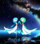 2girls alternate_color bangs blue_hair blue_skin bob_cut closed_mouth colored_skin commentary_request dated eye_contact flat_chest full_body galaxy gardevoir gardevoir_day gen_3_pokemon green_hair green_skin hair_over_one_eye hand_up happy highres holding_hands horizon interlocked_fingers leg_up looking_at_another lotosu multicolored multicolored_skin multiple_girls night night_sky on_water open_mouth orange_eyes outdoors pokemon pokemon_(creature) profile red_eyes reflection ripples shiny shiny_hair shiny_pokemon shooting_star short_hair sky smile standing standing_on_one_leg star_(sky) starry_sky two-tone_skin water white_skin