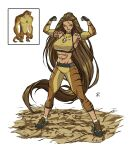 1girl abs absurdres apoloniodraws ben_10 brown_hair dinosaur flexing green_eyes ground_shatter highres long_hair muscular muscular_female omnitrix pose shoes sneakers tattoo
