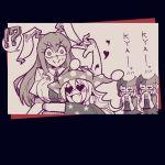 4girls animal_ears blonde_hair blouse breasts clownpiece hat heart heart-shaped_pupils helltaker hug jester_cap long_hair mask multiple_girls necktie o_o rabbit_ears reisen_udongein_inaba sweatdrop symbol-shaped_pupils touhou warugaki_(sk-ii) yuri