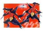 black_sclera claws colored_sclera garchomp gen_4_pokemon highres legs_apart mo~zu multiple_views no_humans open_mouth pokemon pokemon_(creature) sharp_teeth spikes standing symbol_commentary teeth tongue translation_request yellow_eyes