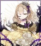 1girl black_border blonde_hair border bow braid briar_rose_(sinoalice) crown dress elbow_gloves flower gloves hair_ribbon highres looking_at_viewer off_shoulder one_eye_closed open_mouth plant puffy_short_sleeves puffy_sleeves ribbon rose royal short_hair short_sleeves side_ponytail simple_background sinoalice sketch solo sonori thorns vines white_flower white_gloves white_rose yellow_eyes