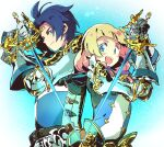 1boy 1girl :d back-to-back blonde_hair blue_eyes blue_hair fencer_(sekaiju) holding holding_sword holding_weapon oomarubath open_mouth rapier sekaiju_no_meikyuu sekaiju_no_meikyuu_5 smile sword upper_body weapon