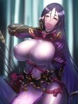 1girl armor bangs black_gloves bodysuit breasts elbow_gloves fate/grand_order fate_(series) fingerless_gloves gloves japanese_armor kote large_breasts long_hair looking_at_viewer low-tied_long_hair minami_koyogi minamoto_no_raikou_(fate) open_mouth parted_bangs pelvic_curtain purple_bodysuit purple_hair ribbed_sleeves rope smile solo tassel very_long_hair violet_eyes
