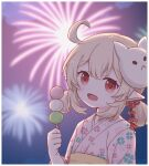 1girl :d ahoge alternate_costume bangs blurry clover_print commentary_request cute dango depth_of_field dodoco_(genshin_impact) eyebrows_visible_through_hair fireworks food genshin_impact hair_between_eyes hair_ornament holding holding_food japanese_clothes kagamine_ran kimono klee_(genshin_impact) light_brown_hair loli long_hair looking_at_viewer low_twintails mask mask_on_head mihoyo_technology_(shanghai)_co._ltd. open_mouth orange_eyes pointy_ears sidelocks smile solo summer summer_festival twintails wagashi yukata