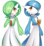 2girls alternate_color bangs blue_hair blue_skin blush bob_cut character_name closed_mouth collar colored_skin commentary eyebrows_visible_through_hair flat_chest gardevoir gen_3_pokemon green_hair green_skin hair_over_one_eye hand_on_own_chest hand_up happy looking_at_viewer lotosu mega_stone multicolored multicolored_skin multiple_girls open_mouth orange_eyes pokemon pokemon_(creature) red_eyes shiny shiny_hair shiny_pokemon short_hair simple_background smile standing translated two-tone_skin white_background white_skin