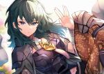 1girl anniversary armor bangs black_armor black_cape black_shorts blue_hair bracelet byleth_(fire_emblem) byleth_(fire_emblem)_(female) cape commentary detached_collar english_commentary eyebrows_visible_through_hair fire_emblem fire_emblem:_three_houses floating_hair hair_between_eyes highres jewelry long_hair looking_at_viewer nakabayashi_zun navel pantyhose parted_lips salute short_shorts shorts shoulder_armor solo violet_eyes vulcan_salute