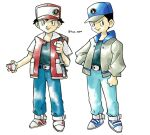 2boys backpack bag bangs baseball_cap belt belt_buckle black_hair blue_headwear brown_bag buckle closed_mouth commentary english_commentary grey_jacket hat highres holding holding_poke_ball holding_strap hyo_oppa jacket long_sleeves looking_at_viewer male_focus multiple_boys open_clothes open_jacket pants poke_ball poke_ball_(basic) pokemon pokemon_(game) pokemon_rgby red_(pokemon) shirt shoes short_hair short_sleeves simple_background smile standing sugimori_ken sugimori_ken_(style) twitter_username white_background white_footwear