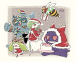 beedrill blush cake capelet chichibu_(chichichibu) closed_eyes clothed_pokemon colored_skin commentary_request food fur-trimmed_capelet fur_trim gardevoir gen_1_pokemon gen_2_pokemon gen_3_pokemon gen_5_pokemon gen_7_pokemon gengar golurk green_hair hat hatted_pokemon holding hood hood_up leg_up open_mouth pokemon pokemon_(creature) red_capelet red_eyes santa_hat smile standing standing_on_one_leg stantler steenee tongue white_skin |d