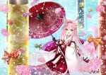1girl absurdres animal_ears artist_name azur_lane bare_shoulders black_gloves detached_sleeves flower fox_ears fox_girl fox_tail from_above gloves green_eyes hair_ornament hairband hanazuki_(azur_lane) highres hip_vent holding holding_umbrella huge_filesize japanese_clothes kimono long_hair looking_at_viewer looking_up nako_nya oil-paper_umbrella pink_flower pink_hair print_umbrella red_hairband sleeveless sleeveless_kimono solo tail umbrella very_long_hair wading water white_kimono wide_sleeves