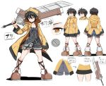 1girl ass black_hair breasts closed_mouth cougar_(cougar1404) hair_between_eyes holding holding_sword holding_weapon hood hooded_jacket jacket looking_at_viewer nari_(cougar1404) original overalls short_hair simple_background solo standing sword weapon white_background yellow_eyes