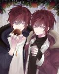 2boys :d apple apple_tree bangs black_coat black_sweater blue_eyes blurry blurry_background brown_coat brown_hair burger coat coffee commentary_request drawstring drink food fruit fur_trim hair_between_eyes hand_on_another's_shoulder highres holding holding_drink jewelry long_sleeves looking_at_another male_focus medium_hair multicolored_hair multiple_boys muon necklace open_clothes open_mouth open_shirt original redhead shirt siblings sidelocks sleeves_past_wrists smile streaked_hair sweater tree turtleneck turtleneck_sweater twins white_shirt white_sweater