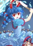 1girl animal_ears arms_up bangs blue_background blue_dress blue_hair blue_sleeves breasts dress eyebrows_visible_through_hair frills hair_between_eyes hands_up looking_at_viewer medium_breasts medium_hair open_mouth pants rabbit_ears rabbit_tail red_eyes seiran_(touhou) short_sleeves simple_background solo tail touhou twintails weapon white_pants zetsumame
