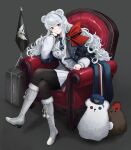 1girl absurdres arknights belt black_legwear blue_eyes blue_hair blue_jacket blue_neckwear boots bow breasts chair character_doll commentary crossed_legs curly_hair elbow_rest fur_trim grey_background hat hat_removed head_rest headwear_removed heterochromia highres jacket knee_boots long_hair looking_at_viewer lounge_chair military military_uniform multicolored_hair multiple_belts necktie non09_24 pantyhose pink_hair pleated_skirt red_bow red_eyes rosa_(arknights) shadow simple_background sitting skirt solo streaked_hair stuffed_animal stuffed_polar_bear stuffed_toy uniform wavy_hair white_footwear white_hair white_jacket white_skirt zima_(arknights)