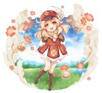 1girl :d absurdres ahoge backpack bag bangs blurry boots brown_footwear brown_gloves brown_scarf cabbie_hat clover_print coat commentary_request depth_of_field eyebrows_visible_through_hair full_body genshin_impact gloves grass hair_between_eyes hat hat_feather hat_ornament highres horizon jumpy_dumpty klee_(genshin_impact) knee_boots kneehighs knees_together_feet_apart lake light_brown_hair long_hair long_sleeves looking_at_viewer low_twintails open_mouth orange_eyes pocket pointy_ears rainbow red_coat red_headwear ria_(yfvv_ria) scarf sidelocks smile solo twintails twitter_username