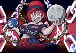 1girl bare_shoulders black_shirt breasts chain clothes_writing hat hecatia_lapislazuli helltaker looking_at_viewer multicolored multicolored_clothes off-shoulder_shirt off_shoulder open_mouth polos_crown red_eyes redhead shirt skirt solo t-shirt touhou warugaki_(sk-ii)