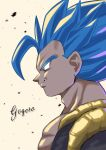 1boy bangs blue_eyes blue_hair character_name closed_mouth coffeelove68 dragon_ball dragon_ball_super dragon_ball_super_broly from_side gogeta highres male_focus metamoran_vest muscular short_hair smile spiky_hair super_saiyan super_saiyan_blue upper_body yellow_background
