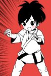 1girl :o alternate_costume alternate_hair_length alternate_hairstyle bangs commentary_request dougi emphasis_lines fighting_stance highres hitori_bocchi hitoribocchi_no_marumaru_seikatsu judo katsuwo_(cr66g) long_sleeves looking_to_the_side open_mouth partially_colored red_background short_hair simple_background solo standing